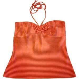 5/$25!🌟 LOFT Orange Peach Striped Tie Neck Halter